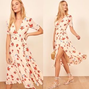 Reformation Napa Wrap Midi Dress in Chagall